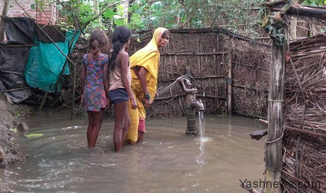 Supaul: A view of flooded village in Supaul district of